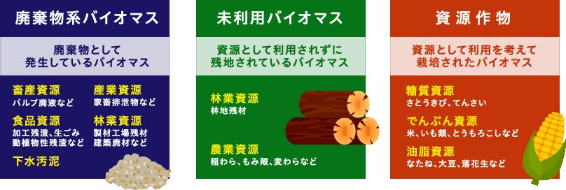 廃棄物系バイオマス,廃棄物として発生しているバイオマス,未利用バイオマス,資源として利用されずに残地されているバイオマス,資源作物,資源として利用を考えて栽培されたバイオマス